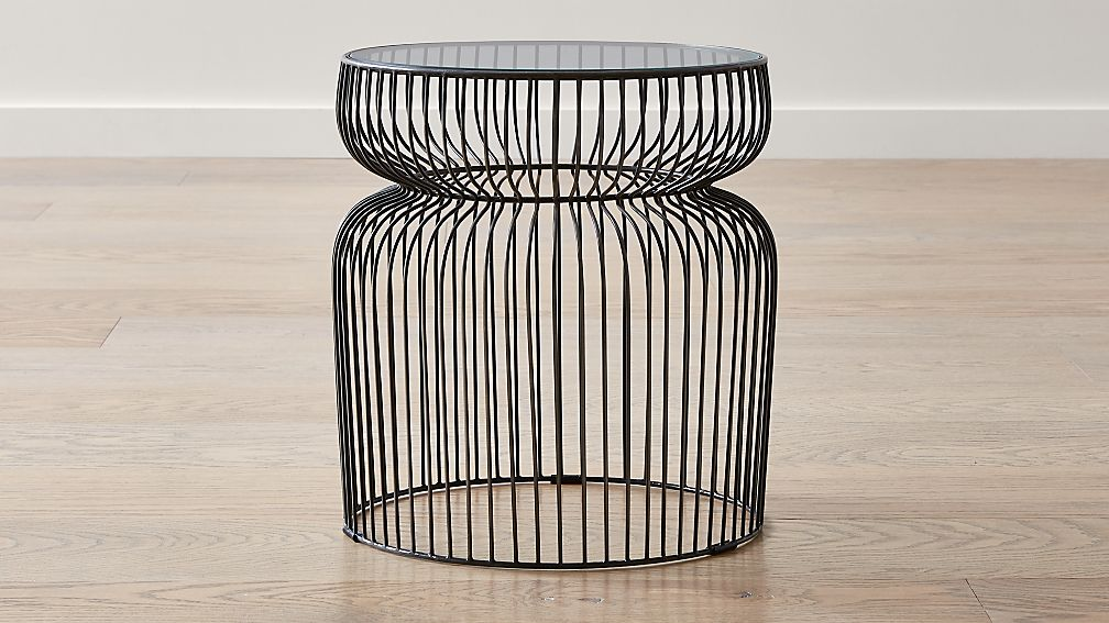 Pleasant Spoke Glass Graphite Metal End Table Home Interior And Landscaping Eliaenasavecom