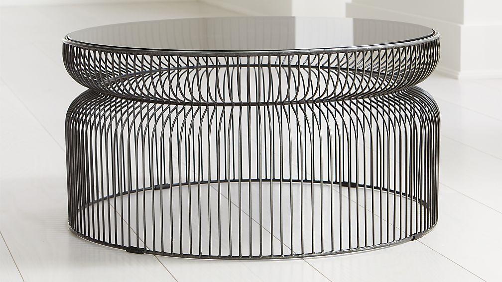 Spoke Smoke Glass Graphite Metal Coffee Table - Image 1 of 3