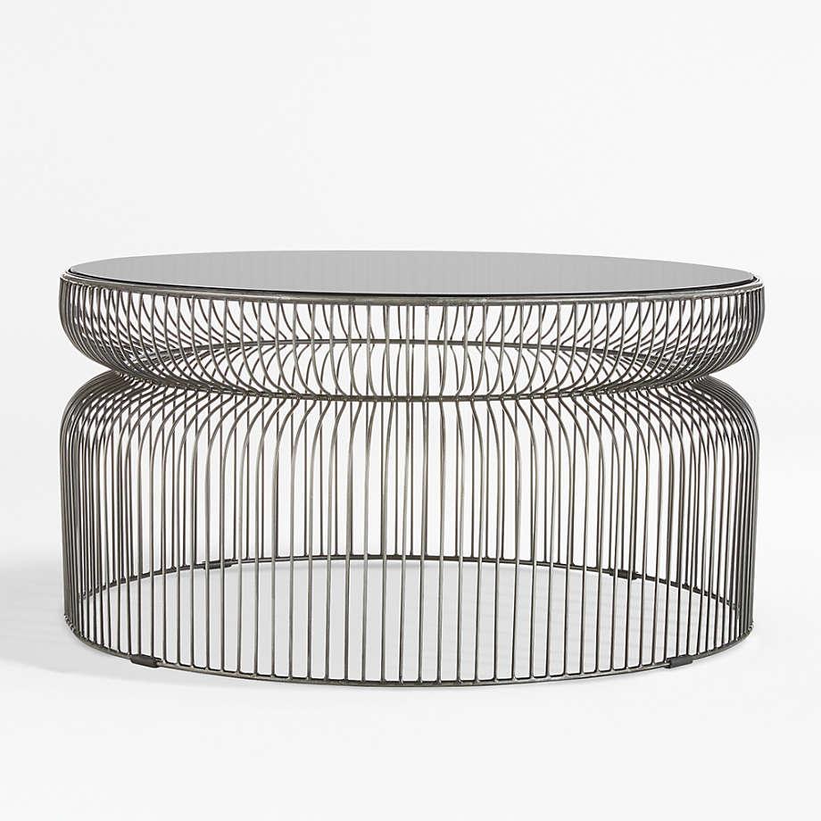 Spoke Smoke Glass Graphite Metal Coffee Table Reviews Crate And Barrel