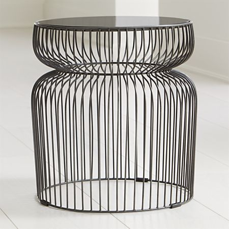 Miraculous Spoke Smoke Glass Graphite Metal End Table Home Interior And Landscaping Eliaenasavecom