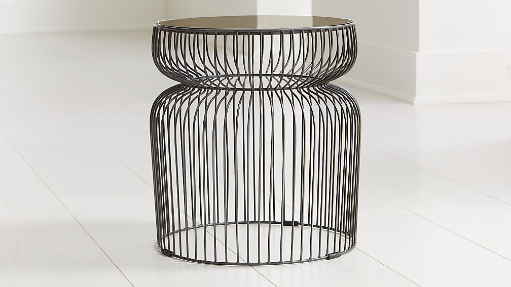 Spoke Tea Glass Graphite Metal End Table - Image 1 of 3
