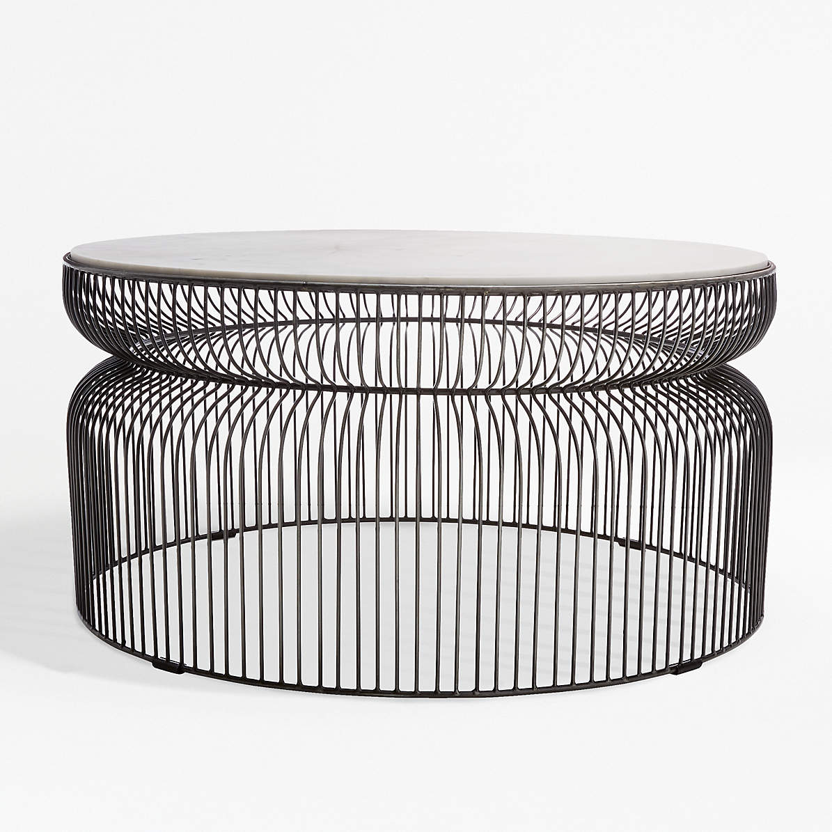 Picture of: Spoke Marble Graphite Metal Coffee Table Reviews Crate And Barrel