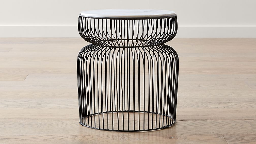 Spoke Marble Graphite Metal End Table - Image 1 of 9