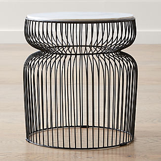 Spoke Marble Graphite Metal End Table
