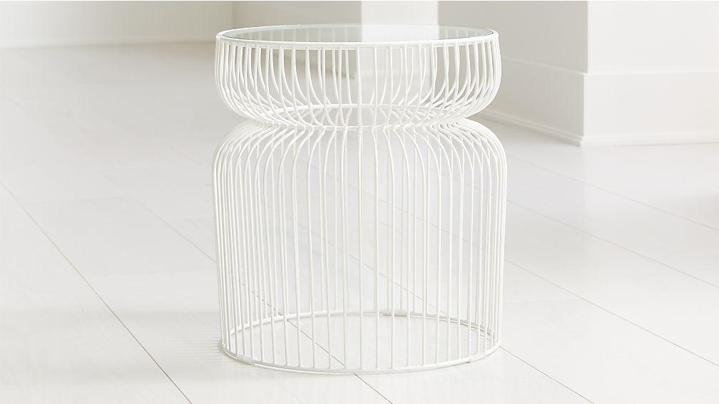 Spoke Glass White Metal End Table - Image 1 of 4
