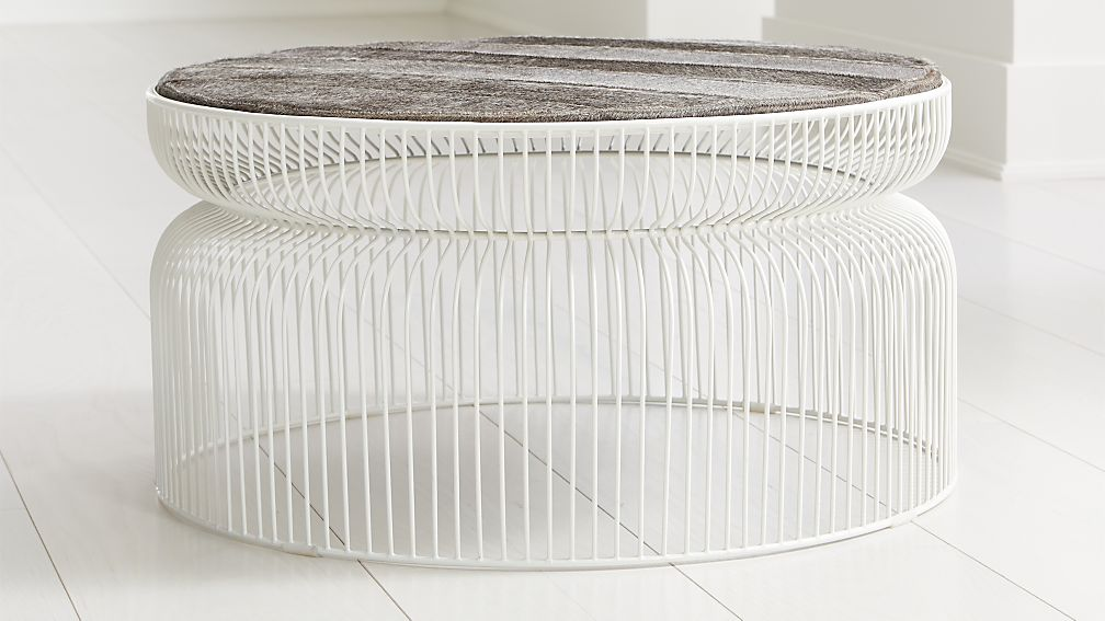 Spoke Hair on Hide White Metal Coffee Table - Image 1 of 3