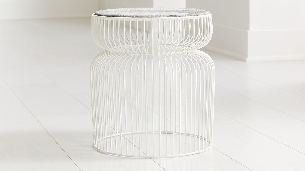 Spoke Hair on Hide White Metal End Table - Image 1 of 3