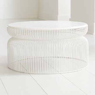 Spoke Marble White Metal Coffee Table