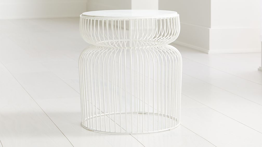 Spoke Marble White Metal End Table - Image 1 of 4