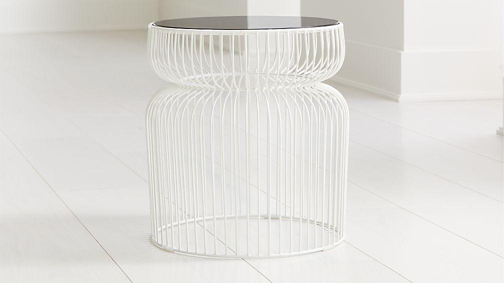 Spoke Smoke Glass White Metal End Table - Image 1 of 3