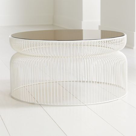 Outstanding Spoke Tea Glass White Metal Coffee Table Crate And Barrel Lamtechconsult Wood Chair Design Ideas Lamtechconsultcom