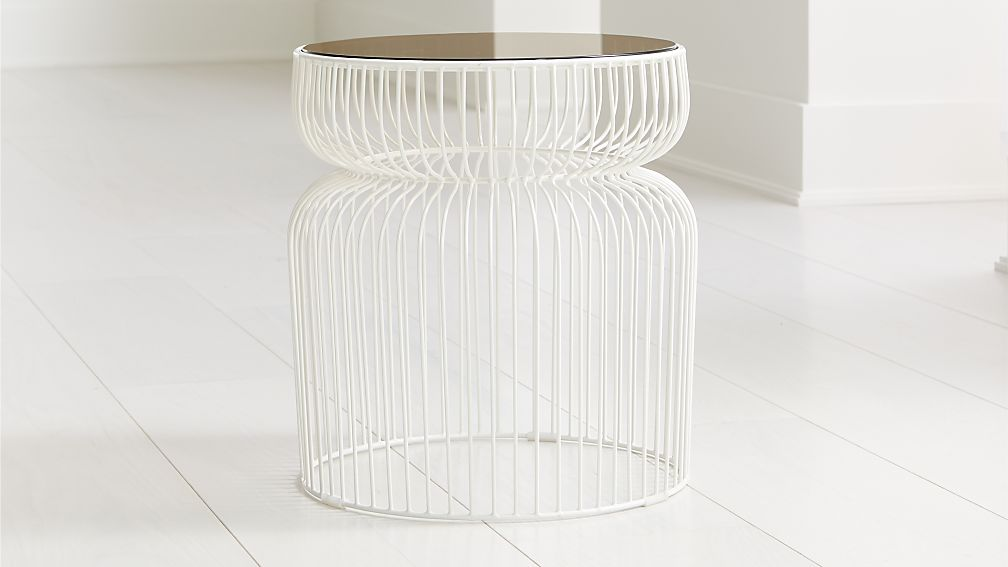 Spoke Tea Glass White Metal End Table - Image 1 of 4