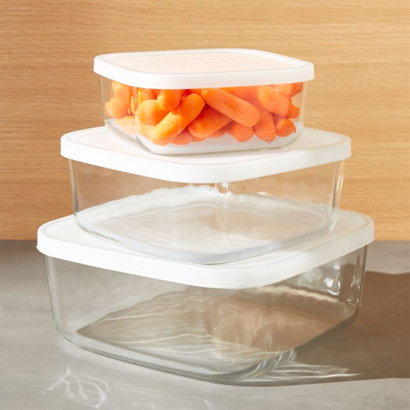3 Piece Glass Storage Container Set Reviews Crate and Barrel