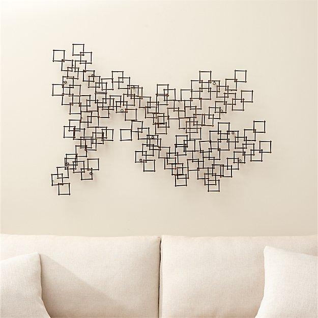 Set of 3 squares nail wall art reviews crate and barrel