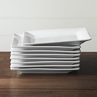 "Square Rim 10.25"" Plates, Set of 8"