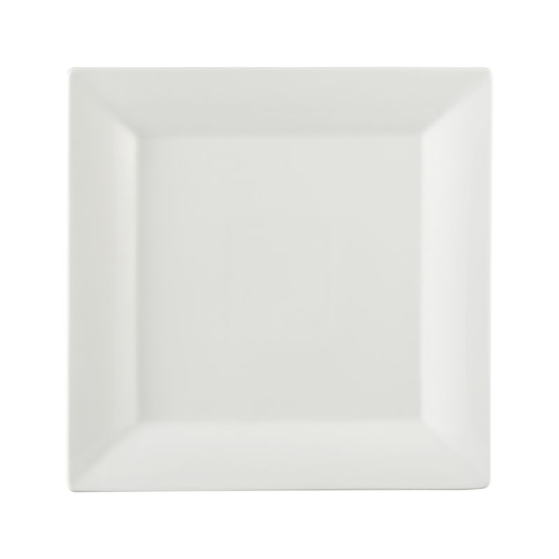 Clean square of white porcelain features broad flared rim for all-purpose serving. Chip-resistant platter goes from microwave or oven to table and dishwasher.<br /><br /><NEWTAG/><ul><li>Porcelain</li><li>Dishwasher-, microwave- and oven-safe</li><li>Made in China</li></ul>
