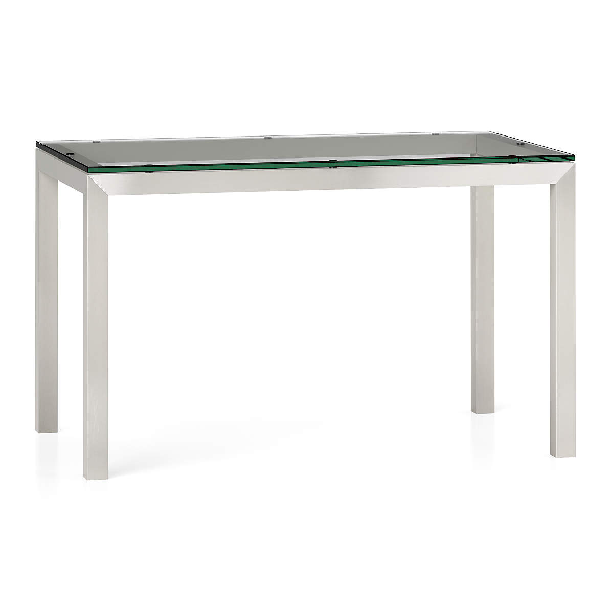 Parsons Clear Glass Top Stainless Steel Base 60x36 Dining Table Reviews Crate And Barrel