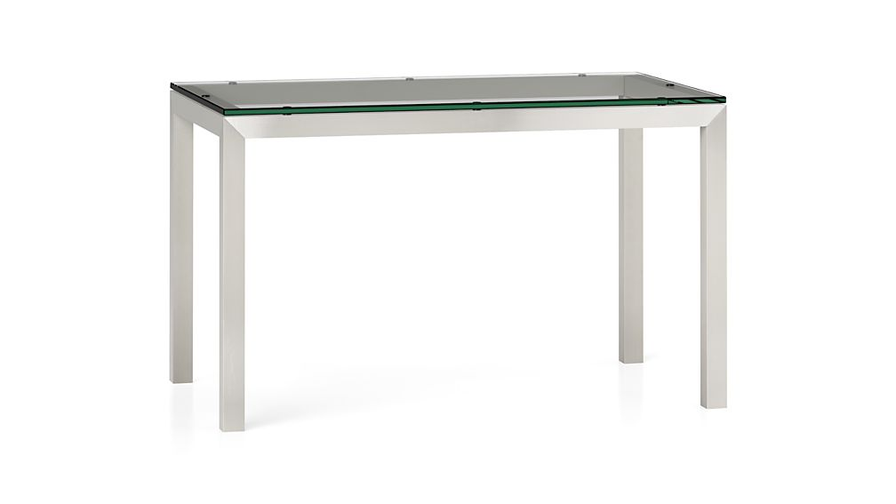 Parsons clear glass top stainless steel base dining for Glass top dining table next