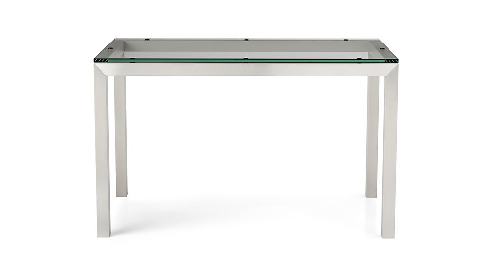 Parsons clear glass top stainless steel base 48x28 dining for Glass top dining table next