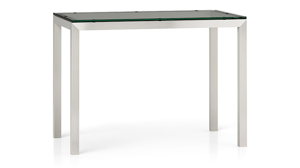 Parsons Clear Glass Top Stainless Steel Base 48x28 High