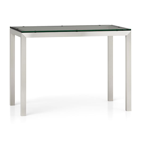 Clear Glass Top/ Stainless Steel Base 48x28 Parsons High Dining Table