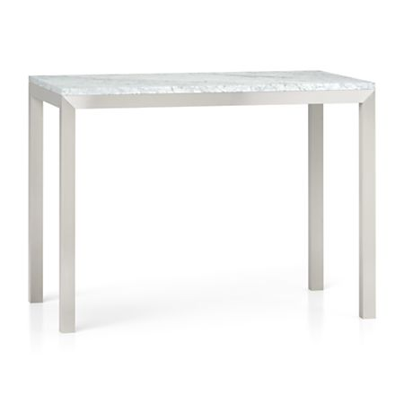 Parsons White Marble Top Stainless Steel Base 48x28 High Dining Table