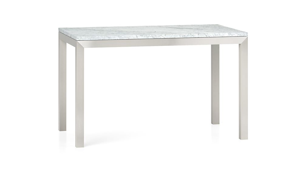 ... Parsons White Marble Top/ Stainless Steel Base 48x28 Dining Table ...
