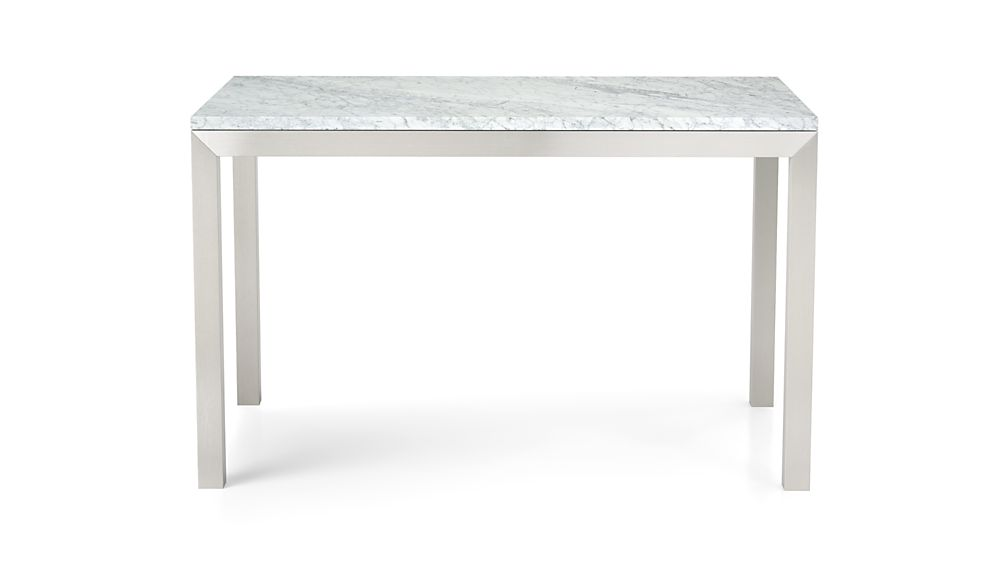 Parsons White Marble Top/ Stainless Steel Base 48x28 High Dining Table