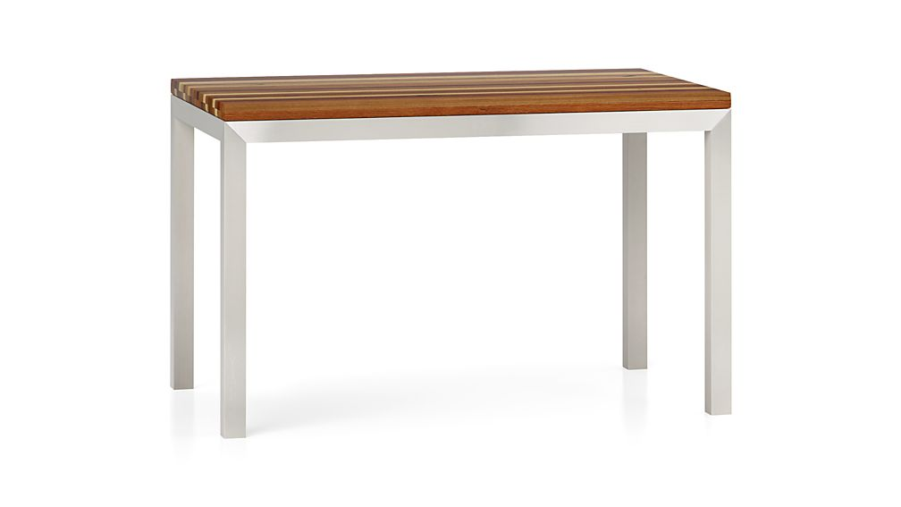 Parsons Reclaimed Wood Top/ Stainless Steel Base 48x28 High Dining Table