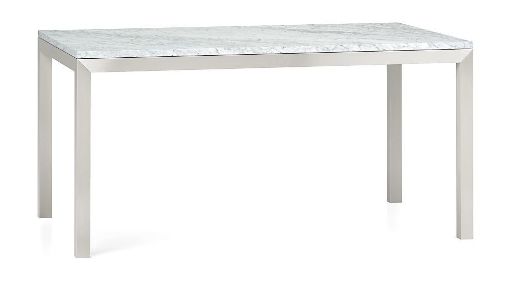 Parsons White Marble Top/ Stainless Steel Base 60x36 Dining Table