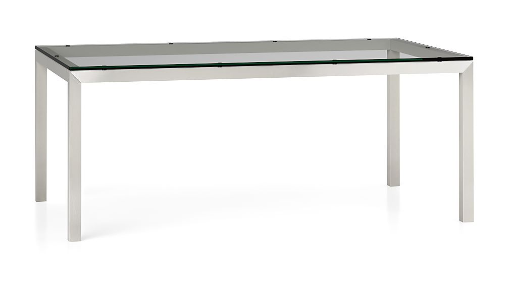 Parsons clear glass top stainless steel base 72x42 dining for Glass top dining table next