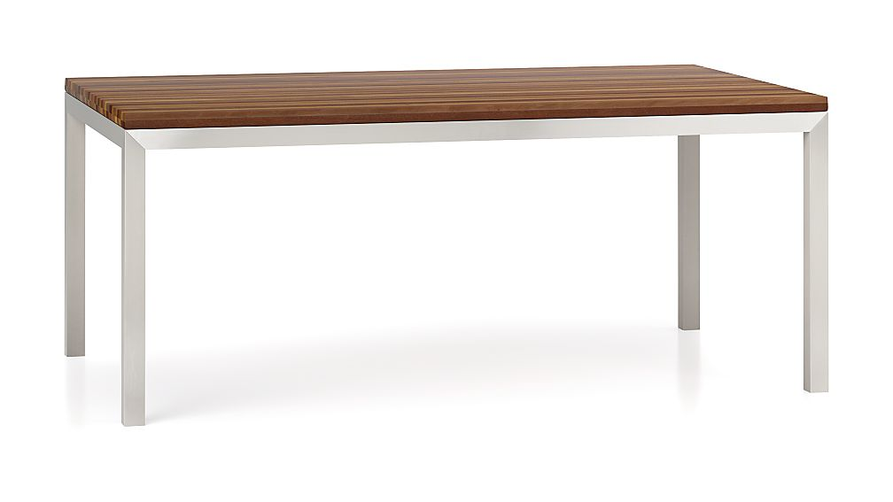 Parsons Reclaimed Wood Top/ Stainless Steel Base 72x42 Dining Table