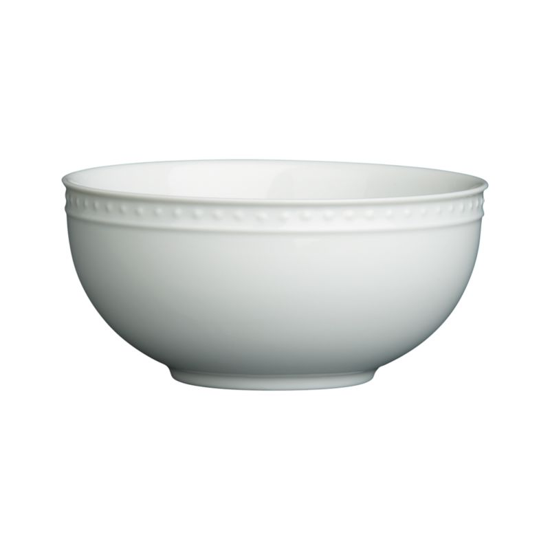 "Inspired by the decorative influences of early 1900s Vienna, this simply elegant white porcelain dinnerware features a raised dot pattern around the rim. Excellent quality workmanship makes this porcelain dinnerware a great value.<br /><br /><strong>Please note:</strong> The Staccato 4.75"" Bowl is discontinued. When our current inventory is sold out, it is unlikely we will be able to obtain more.<br /><br /><NEWTAG/><ul><li>Designed by Kathleen Wills</li><li>Porcelain</li><li>Generously sized pieces</li><li>Dishwasher-, microwave- and warm oven-safe</li><li>Made in Japan</li></ul>"