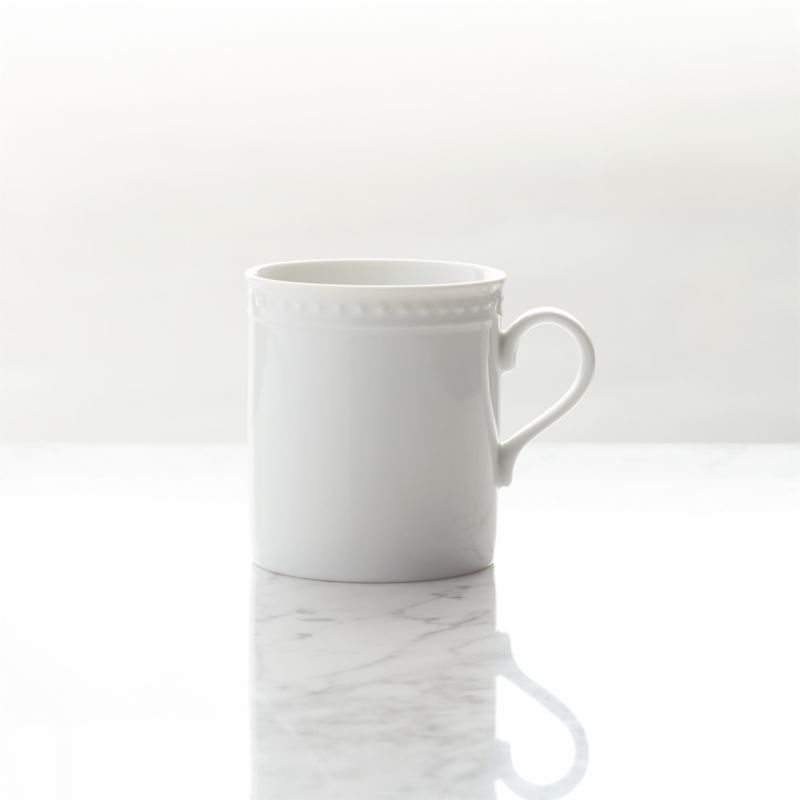 Inspired by the decorative influences of early 1900s Vienna, this simply elegant white porcelain dinnerware features a raised dot pattern around the rim. Excellent quality workmanship makes this porcelain dinnerware a great value.<br /><br /><NEWTAG/><ul><li>Porcelain</li><li>8 oz.</li><li>Designed by Kathleen Wills</li><li>Generously sized pieces</li><li>Dishwasher-, microwave- and warm oven-safe</li><li>Made in Japan</li></ul>