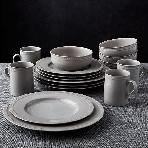 Staccato Grey 16-Piece Dinnerware Set