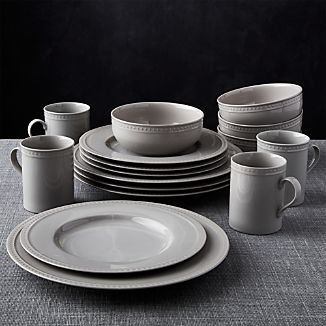 Staccato Grey 16-Piece Dinnerware Set & Microwave Safe Dinnerware | Crate and Barrel