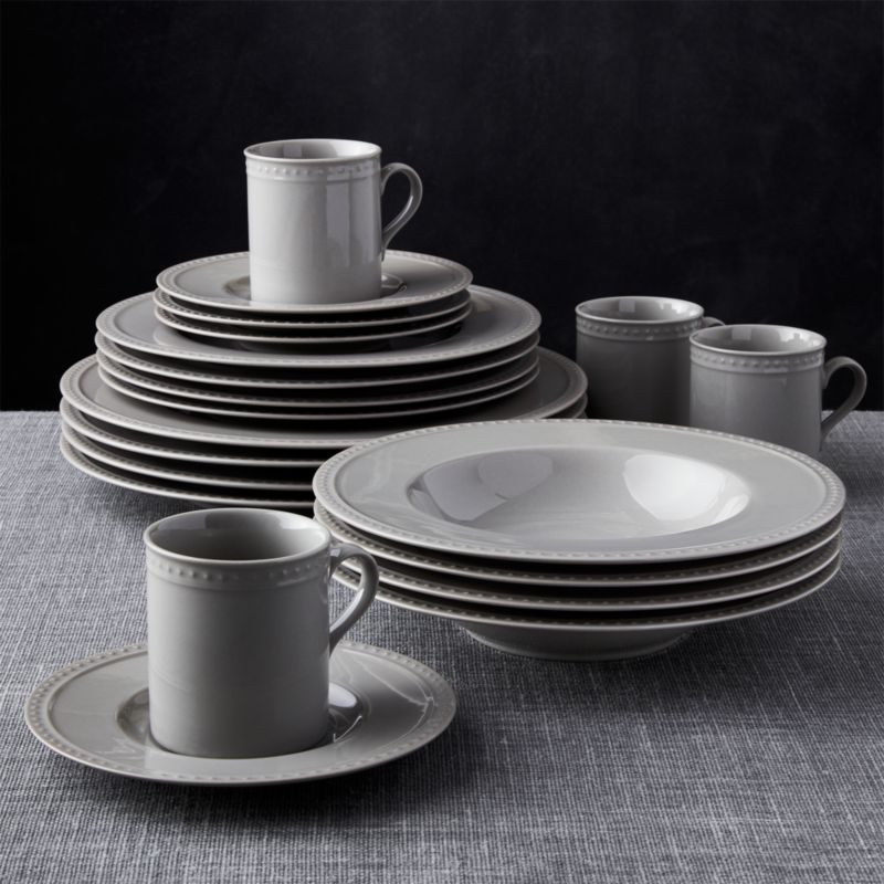 & Staccato Grey 20-Piece Dinnerware Set + Reviews | Crate and Barrel