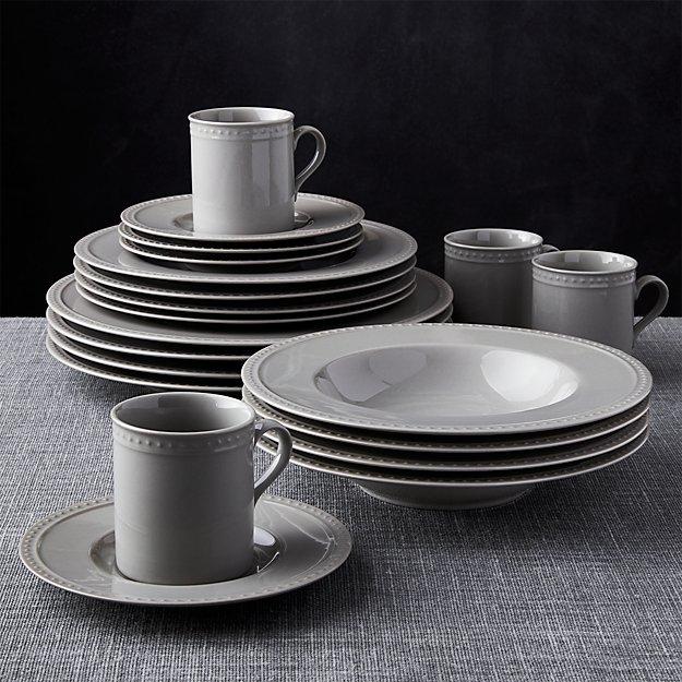 Staccato Grey 20-Piece Dinnerware Set