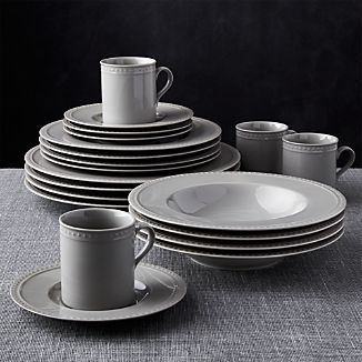 Staccato Grey 20-Piece Dinnerware Set & Glazed Porcelain Dinnerware | Crate and Barrel