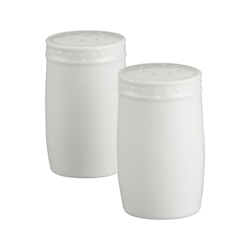 Inspired by the decorative influences of early 1900s Vienna, this simply elegant white porcelain salt and pepper set features a raised dot pattern around the rim. Staccato dinnerware also available.<br /><br /><strong>Please note:</strong> The Staccato Salt and Pepper Shaker Set is discontinued. When our current inventory is sold out, it is unlikely we will be able to obtain more.<br /><br /><NEWTAG/><ul><li>Designed by Kathleen Wills</li><li>Porcelain</li><li>Dishwasher-, microwave- and warm oven-safe</li><li>Made in Japan</li></ul>