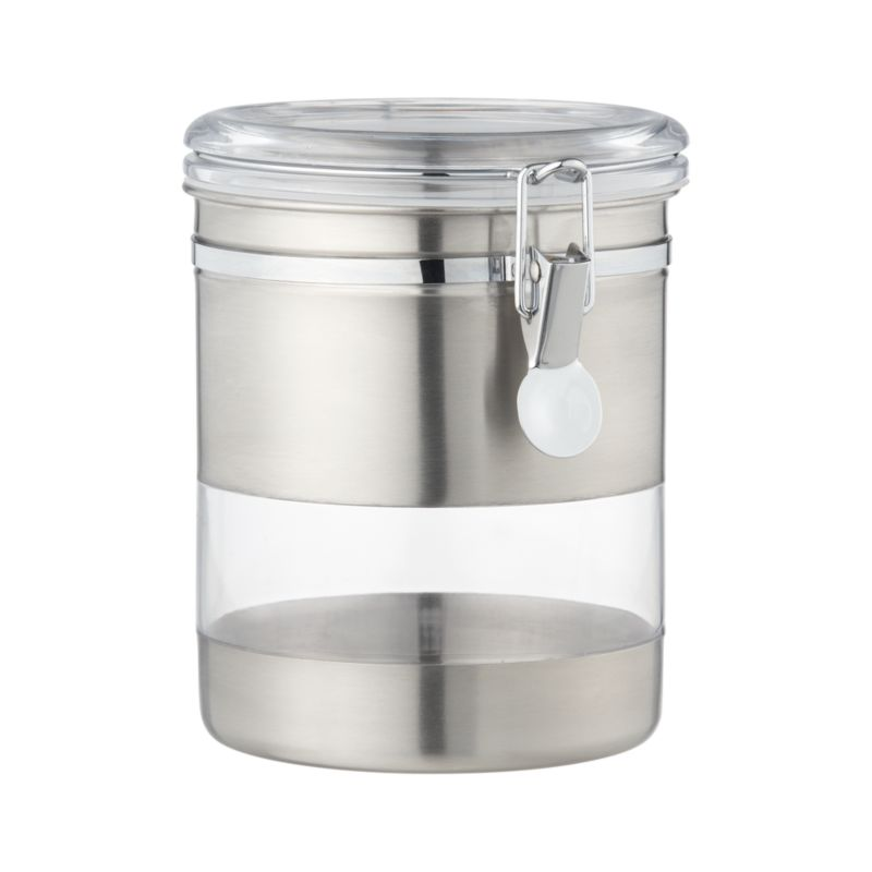 Airtight clip-top storage canister combines the view-through convenience of clear acrylic with the sleek chic of stainless steel.<br /><br /><NEWTAG/><ul><li>Stainless steel exterior</li><li>BPA-free plastic lids</li><li>Rubber gaskets</li><li>Acrylic window</li><li>Freezer-safe</li><li>Hand wash</li><li>Made in China</li></ul>