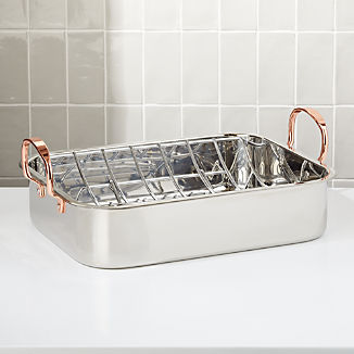 Stainless Steel Roasting Pan with Copper Handles