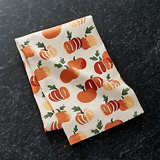 Stamped Pumpkin Dish Towel