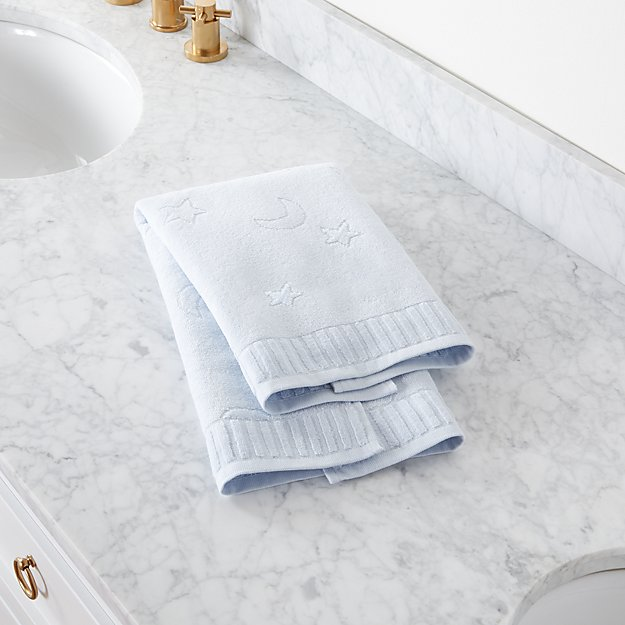 Star and Moon Blue Hand Towel - Image 1 of 6