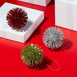red and green christmas ornaments crate and barrel