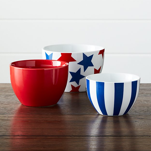 Stars and Stripes Porcelain Bowls, Set of 3