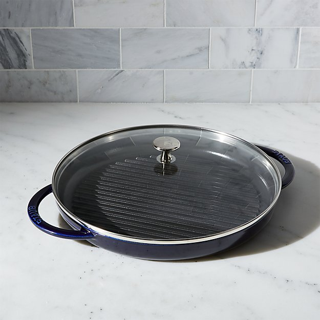 "Staub 12"" Dark Blue Round Steam Grill."