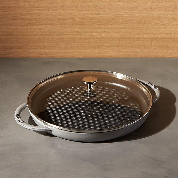 """Staub 12"""" Graphite Grey Round Steam Grill."""
