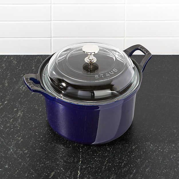 Staub ® 2.75-Qt. Dark Blue Round Cocotte with Glass Lid - Image 1 of 3