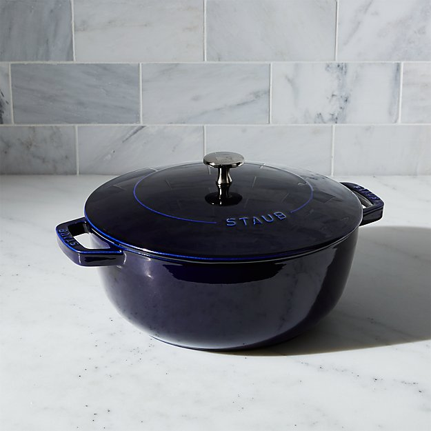Staub dark blue essential french oven crate for Sur la table 6 quart